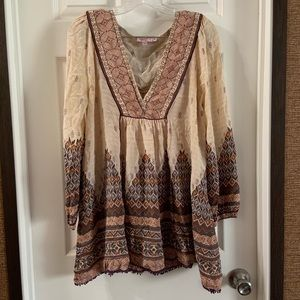 Calypso St. Barth Tan Boho Silk Print V Neck Dress